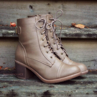 shoes low heel chunky heel fall boots taupe boots lace up boots moto edgy fall style trendy amazing lace