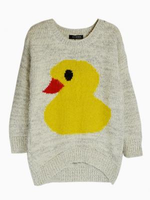 Light Gray Knit Jumper with Big Yellow Fluffy Duck Pattern | Choies