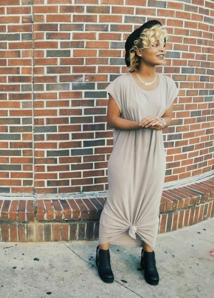 dress beige beige dress black boots knot black hat black girls killin it comfy