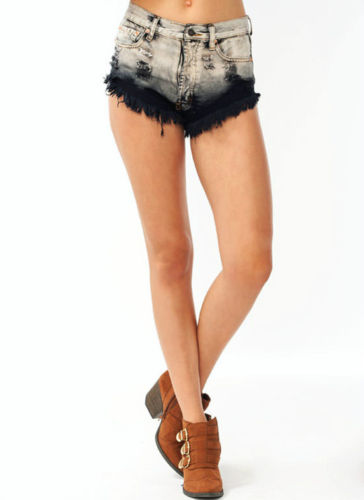 Popular High Waisted Distressed Ripped Black DIP Dyed Shorts Pants s M L | eBay