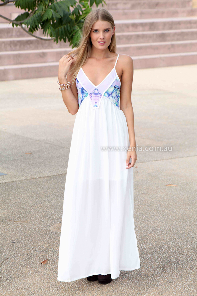 DO THE SAME MAXI , DRESSES, TOPS, BOTTOMS, JACKETS & JUMPERS, ACCESSORIES, 50% OFF SALE, PRE ORDER, NEW ARRIVALS, PLAYSUIT, COLOUR, GIFT VOUCHER,,MAXIS,White,Print,SLEEVELESS Australia, Queensland, Brisbane