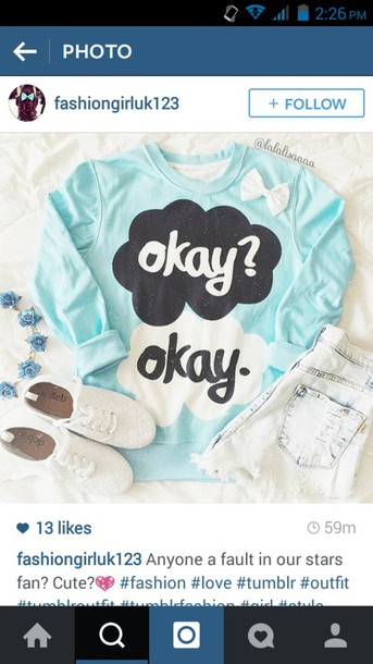 shirt the fault in our stars the fault in our stars the fault in our stars hoodie sweater hipster white shoes vans shorts
