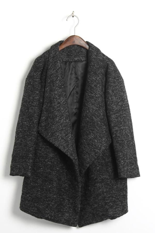 Oversized Lapels Tweed Coat - OASAP.com