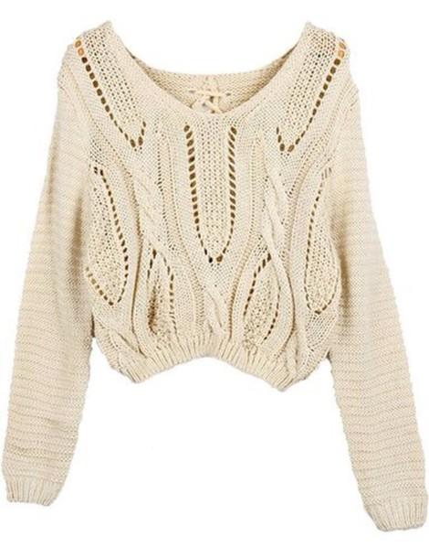 sweater cropped sweater eyelet beige