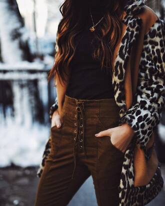 jewels suede pants tumblr jewelry gold jewelry gold necklace necklace pants lace up pants lace up suede top black top coat printed coat leopard print