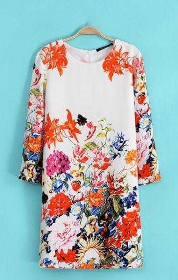 O-neck Three Quarter Sleeves Shift Floral Dress