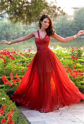 Beautiful a-line red tulle 2013 spring long prom dresses PDM0101