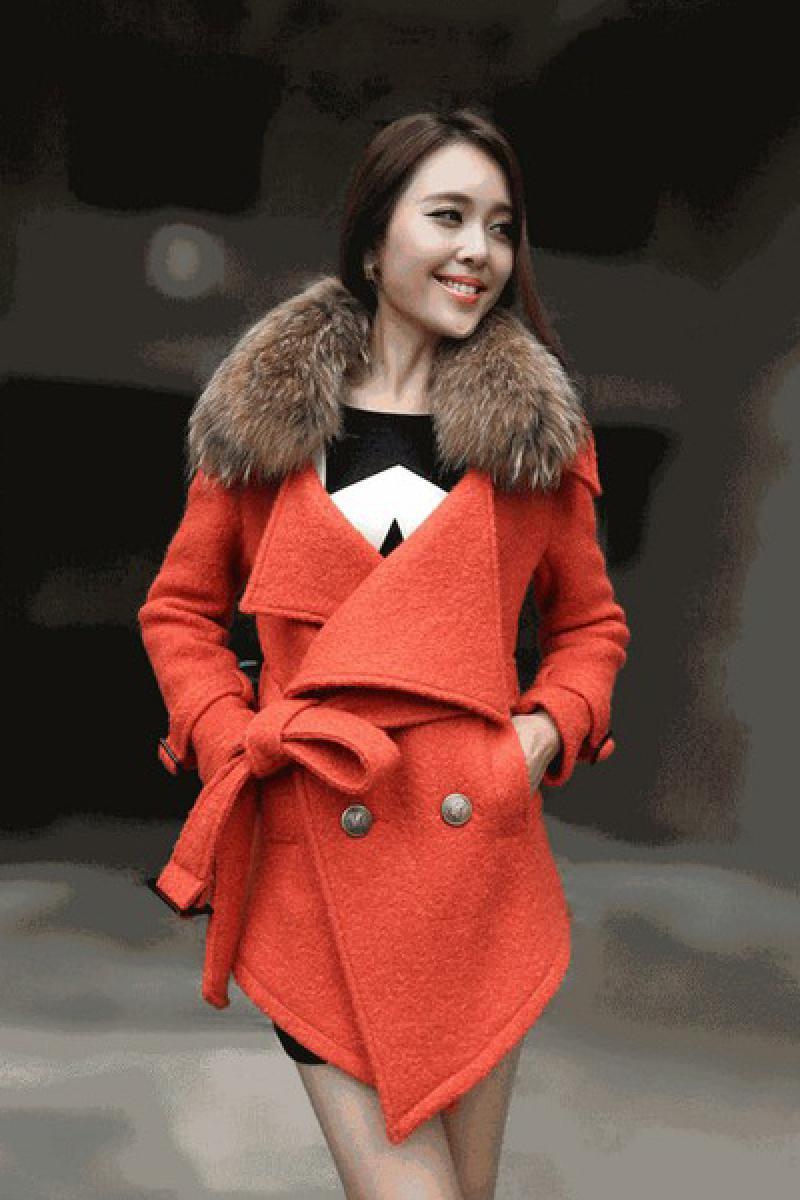 New Slim High Imitation Raccoon Fur Collar Double-breasted Woolen Overcoat,Cheap in Wendybox.com