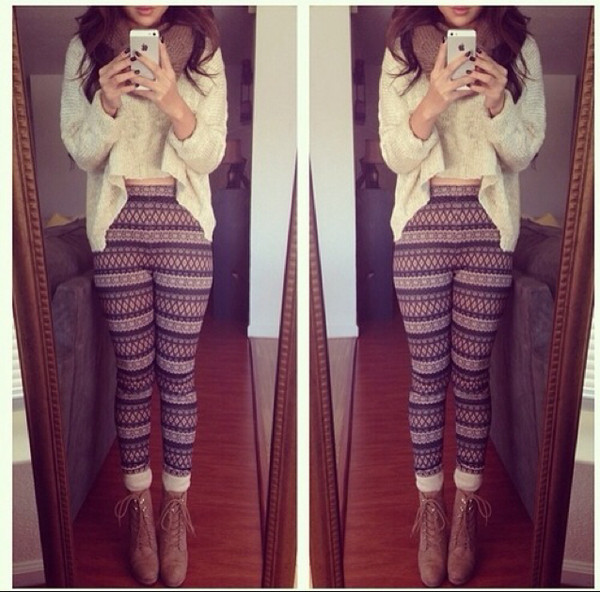 sweater leggings scarf ankle boots pants shoes