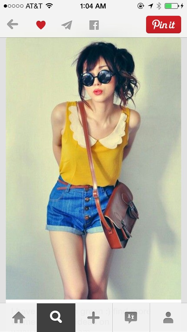blouse shorts belt sunglasses