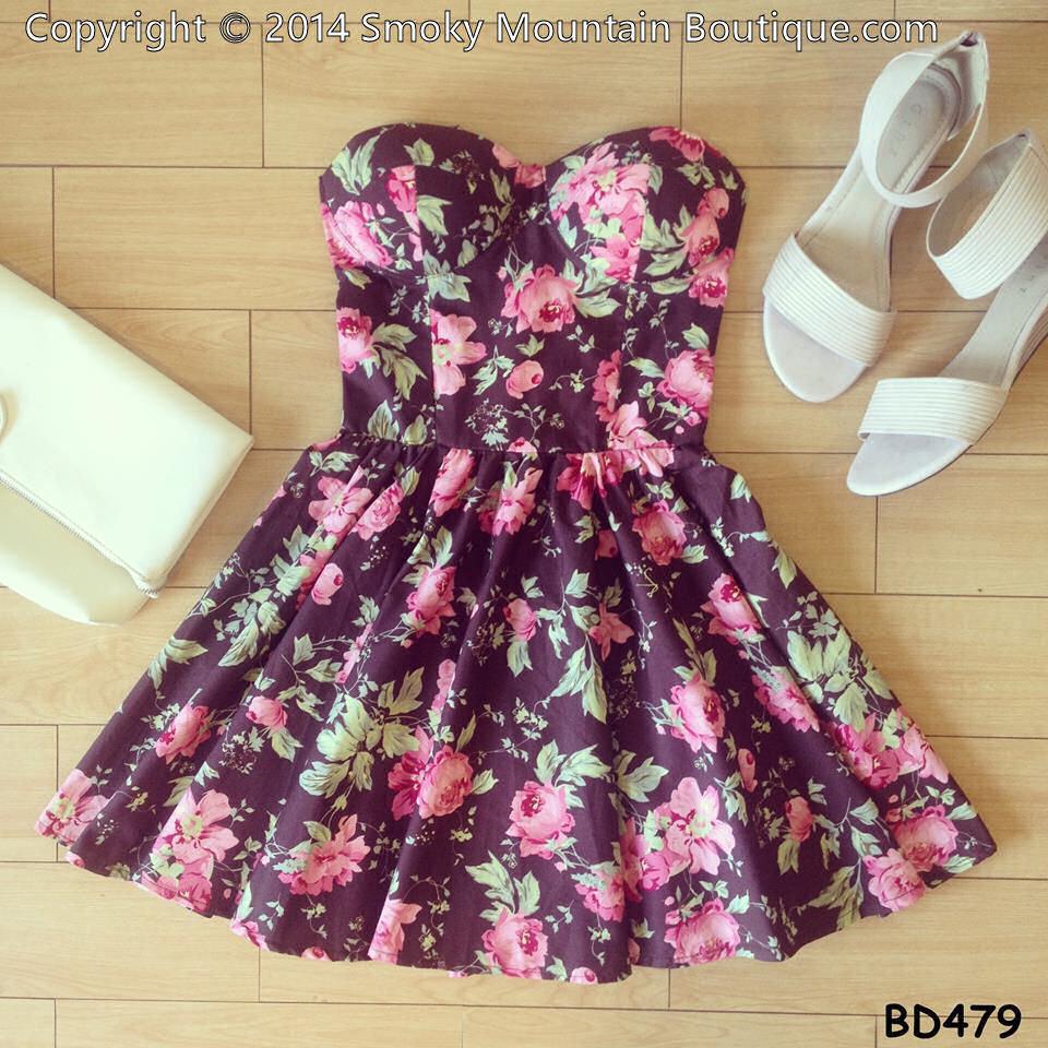Abegail Floral Multi Color Bustier Dress with Adjustable Straps Size XS s M   eBay
