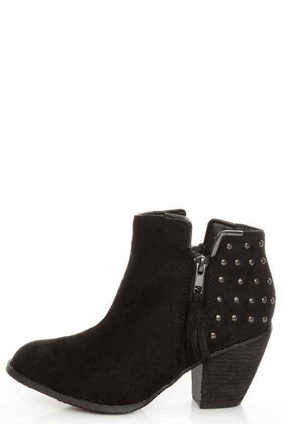 Dollhouse Mayday Black Studded Ankle Boots - $54.00