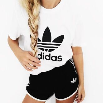 shorts gym shorts gym clothes sportswear sports shorts sports top white t-shirt black shorts adidas adidas top adidas shorts adidas originals braid