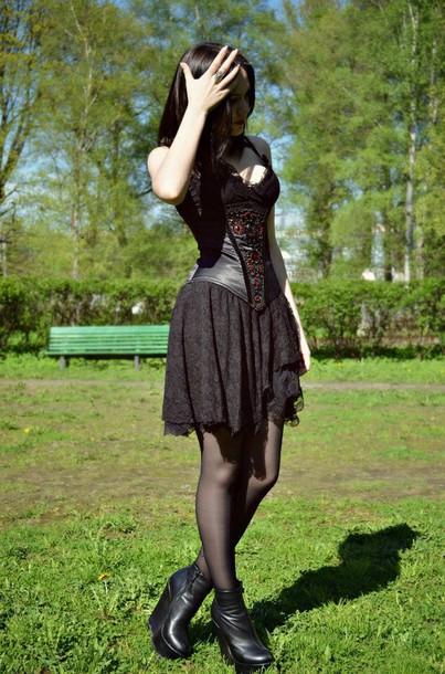 dress black dress black corset corset dress gothic dress goth emo dress emo gothic lolita lace lace dress black platform shoes shoes mini dress