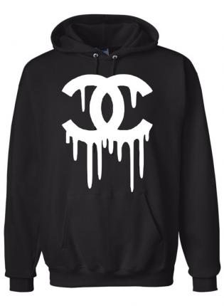 Black Hoodie - Chanel dripping logo on a | UsTrendy