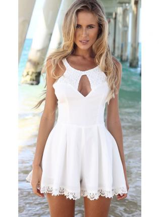 White Jump Suits/Rompers - Lace Romper with Front Keyhole | UsTrendy