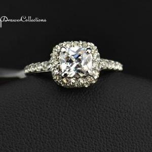 Gorgeous White Gold Plated Halo Ring Paved W/ Swiss CZ's (avail In Sizes 5.5, 6, 6.5, 7, 8, 9) on Luulla