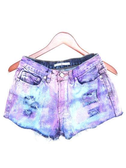 Painted Jean Shorts High Waisted Colorful / Pastel di bambiFALANA