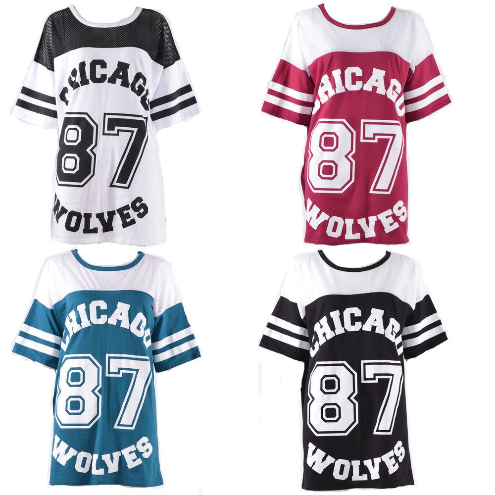 Ladies Womens Varsity Chicago 87 Wolves Print Oversized Jersey Tee Top Tshirt | eBay