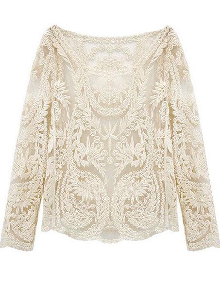 Beige Long Sleeve Hollow Crochet Lace Blouse - Sheinside.com