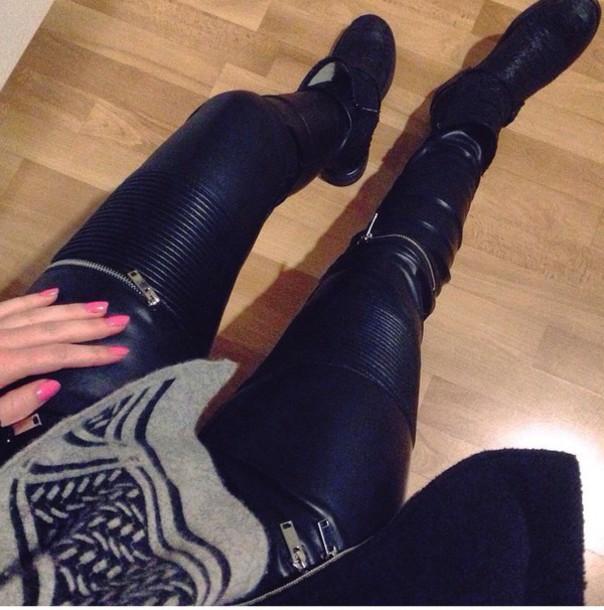 pants leather pants zip