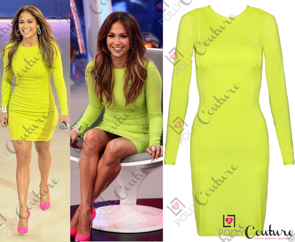 Womens Neon Celeb Stretch Bodycon Tunic Party Long Sleeve Evening Ladies Dress | eBay