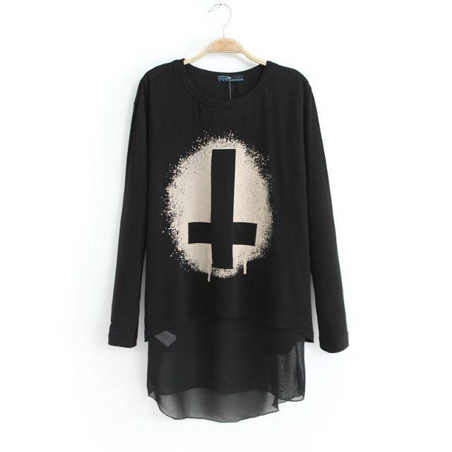 Wholesale Fashion individuality the cross round neck swallowtail tees BD-C1327 black - Lovely Fashion