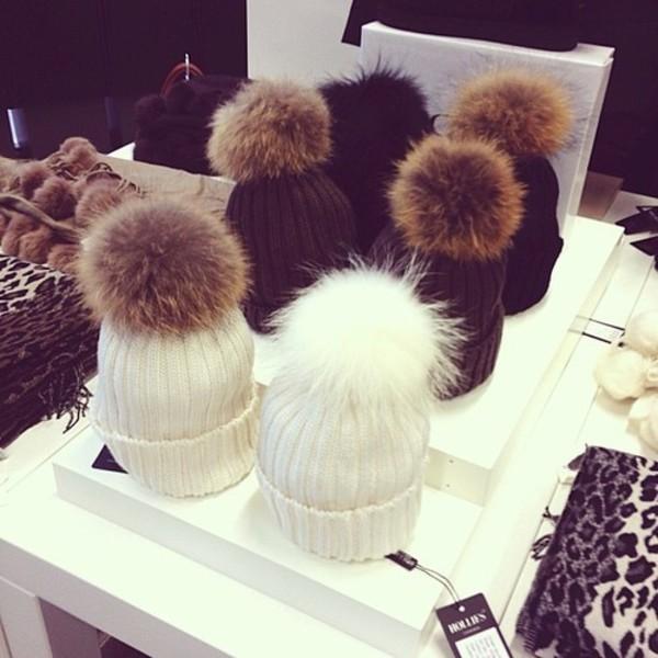 hat winter outfits cold white black brown fur beanie pom pom beanie