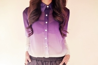 blouse purple girly fashion dressy casual fancy cute clothes see through purle dye nice sogood