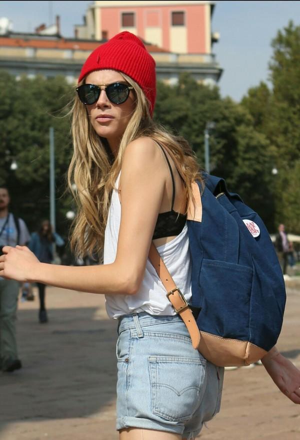 bag cara delevingne backpack fashion tank top beanie hat sunglasses high waisted denim shorts shorts underwear shirt