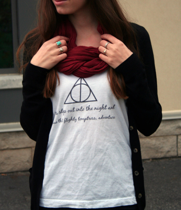 tank top harry potter and the deathly hallows harry potter turquoise jewelry braided scarf boyfriend cardigan silver ring scarf jewels