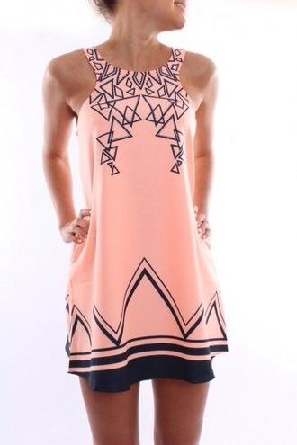 dress pink black triangles shift shift dress tank dress pink dress short dress fashion