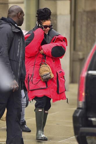jacket boots rihanna red sunglasses