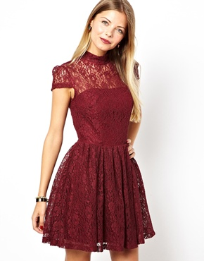 ASOS | ASOS Lace High Neck Prom Dress at ASOS
