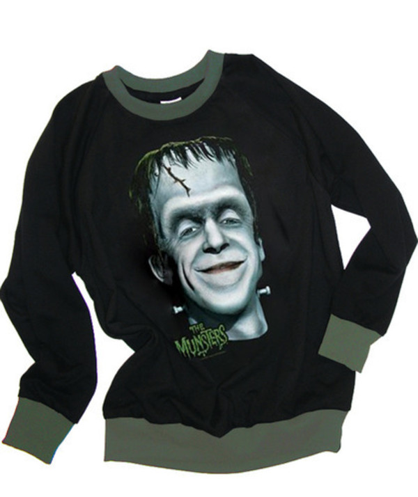 sweater the munsters fred gwynne herman frankenstein halloween funny spooky funny monster 60s style retro black green trimming fleece wool top shirt fall outfits fall outfits