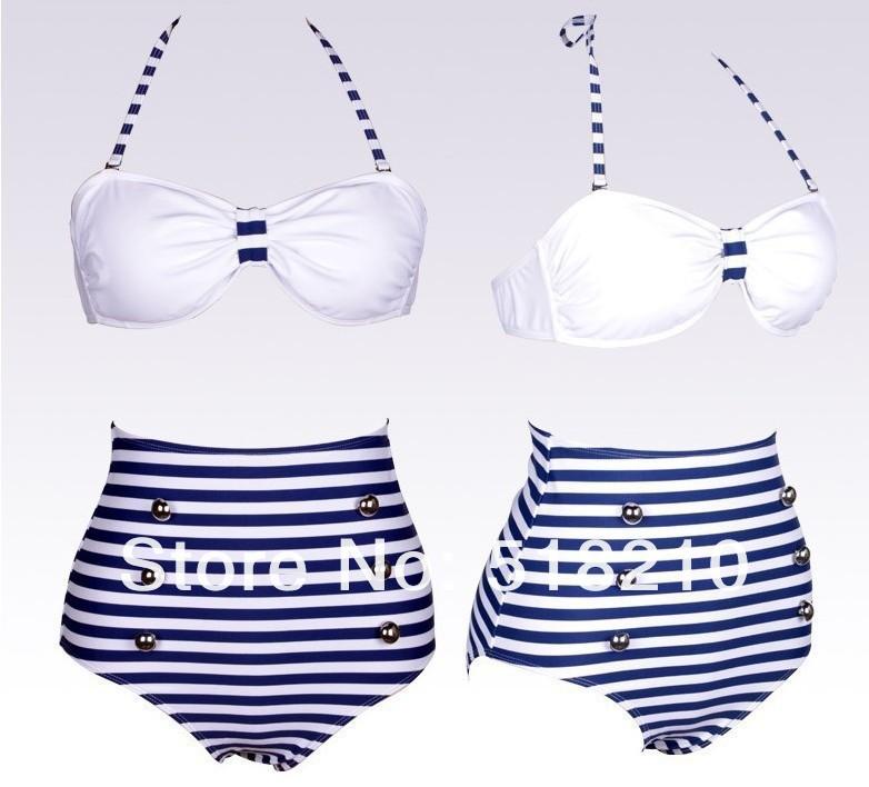 Newest Sexy Fashion Blue and white striped swimsuit sexy bikini swimwear retro High Waist Women Bathing Suits Vintage Bikini Set-in Bikinis Set from Apparel & Accessories on Aliexpress.com