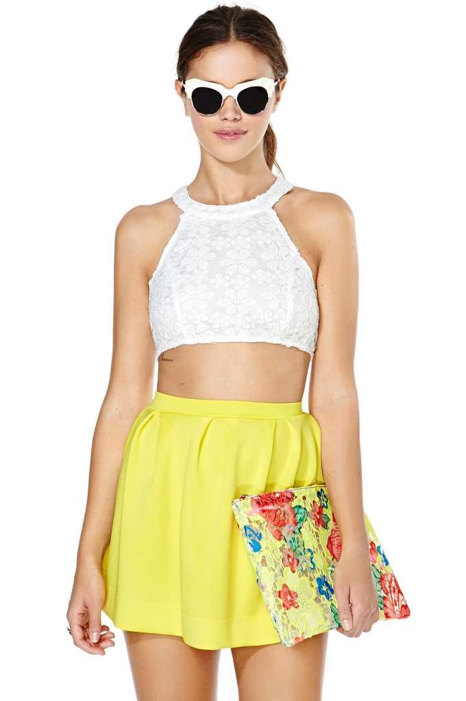 Scuba Skater Skirt - Yellow | Shop Sale at Nasty Gal