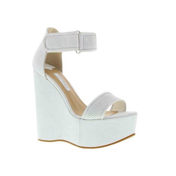 shoes white high heels wedges strap shoes