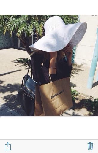 hat white floppy hat pretty sunnies vintage