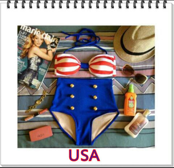 swimwear usa july 4th july 4th patriotic red white and blue red white and blue bikini high waist swimsuit vintage swimwear