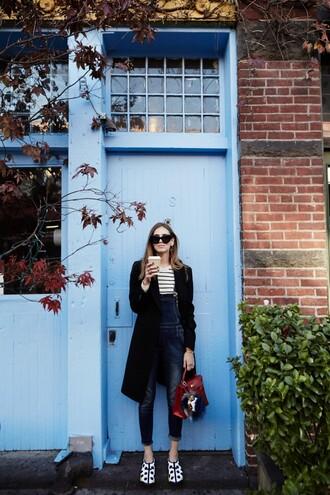 the blonde salad blogger jewels sunglasses dior satchel bag dungarees stripes streetwear overalls