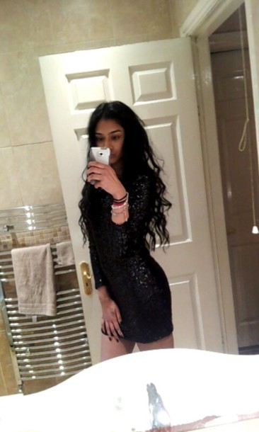 dress h&m sequines sequindress black dress short dress arms