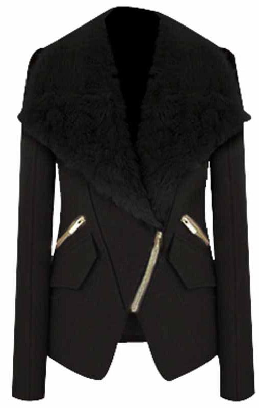 Black Long Sleeve Fur Lapel Oblique Zip Coat - Sheinside.com