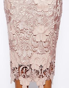 River Island | River Island Lace Pencil Skirt With Scalloped Hem at ASOS