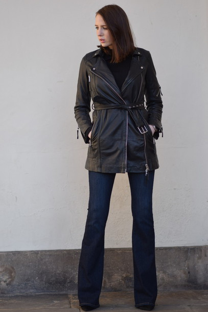 shot from the street blogger leather jacket sweater jacket shoes