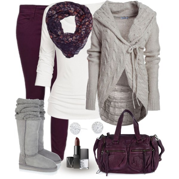 jeans winter outfits cardigan blouse jacket sweater brown grey grey white shirt white shirt grey boots scarf red burgundy winter outfits fall outfits fall outfits fall outfits warm bag purse lipstick earrings studs warm boots winter boots soft burgundy ugg boots