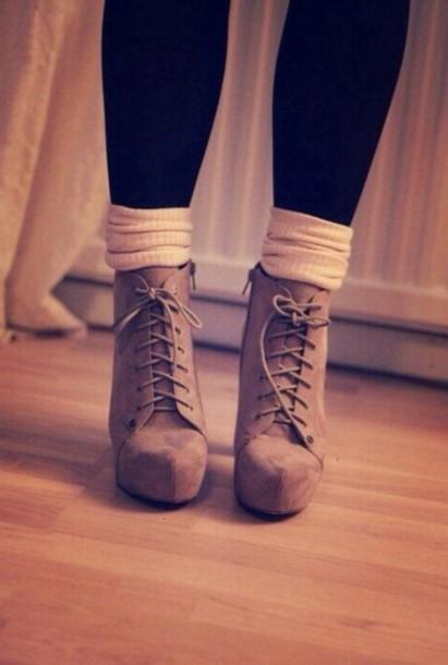 socks platform lace up boots