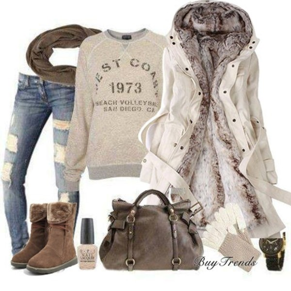 sweater clothes scarf winter boots winter outfits bag nail polish fur coat mittens ripped jeans jeans shoes coat jacket
