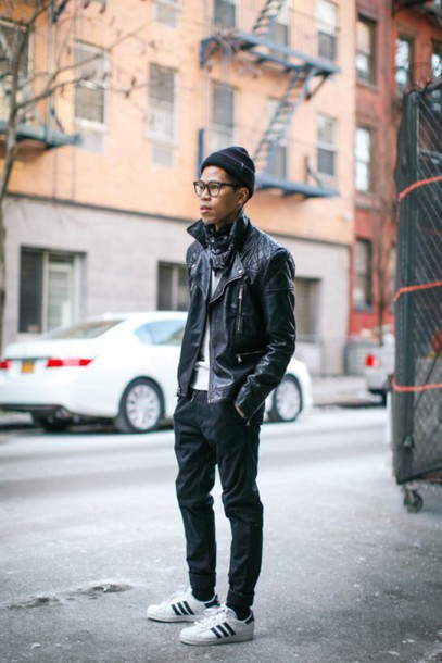 closet freaks blogger hipster menswear jacket sweater shoes hat mens leather jacket