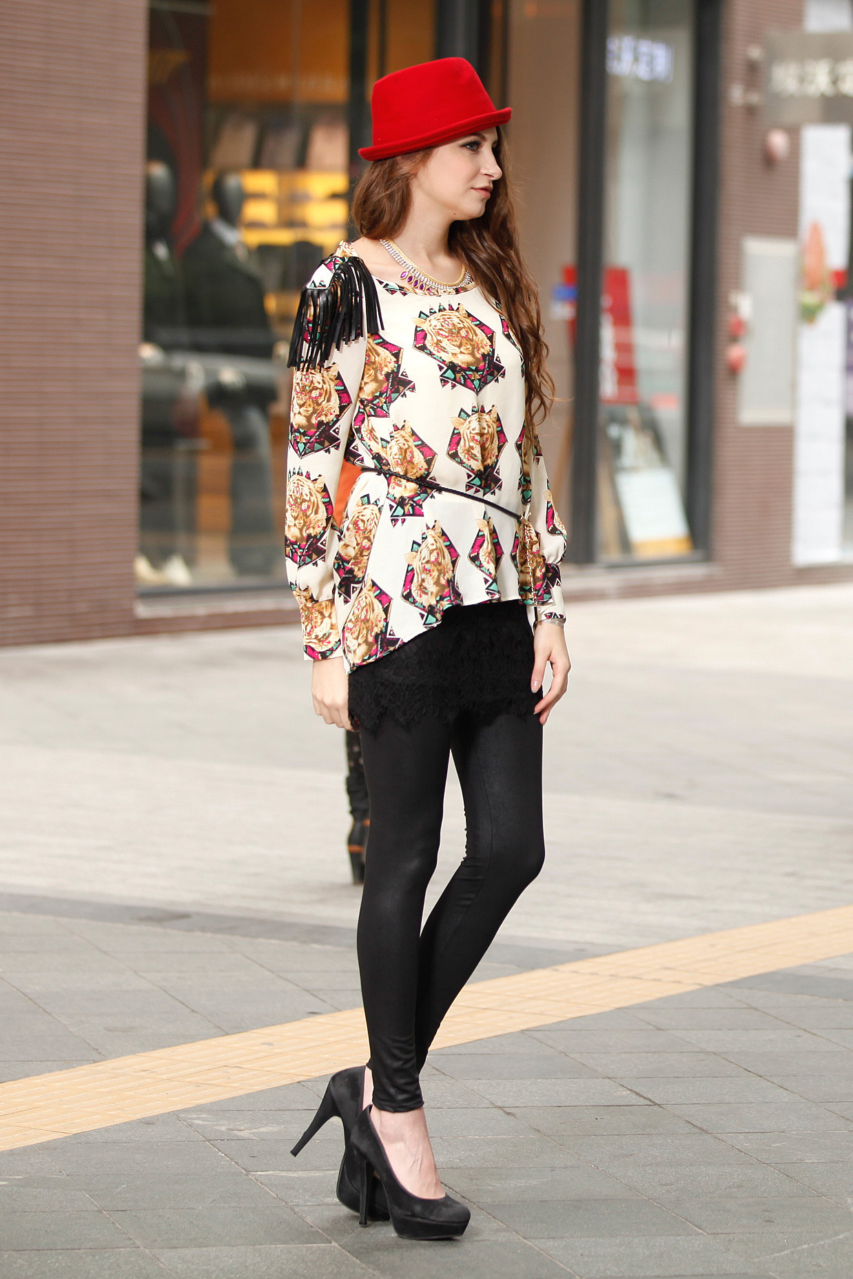 Fashion Black Polyester Fringe Decoration Tiger Head Pattern Blouse